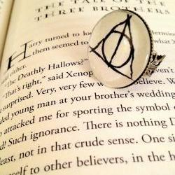 Deathly Hallows Antiqued Bronze Book Page Ring